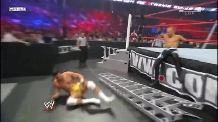 Baseball Slide on opponent with a Ladder