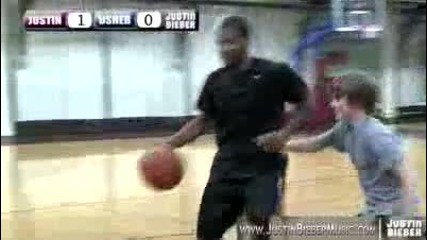 Justin Bieber & Usher play One on One Basketball in Nyc