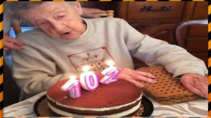 Баба духа свещи на 102-ия си рожден ден, ченето й отлита