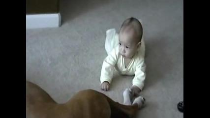 куче и бебе голям смях