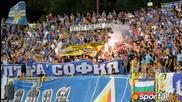Сини факли и наказани знамена ознаменуваха победата над Ботев