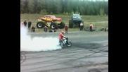 Yamaha R1 burnout,  прекъсвач и много огън
