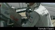 F1 Гран при на Канада 2012 - Schumacher има проблем с Drs и бива прибран в гаража [hd]