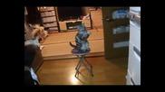 Котка се моли пред хладилник