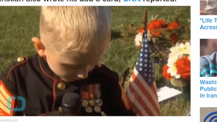 Little Boy in Uniform Pays Tribute to Marine Father at Arlington National Cemetery
