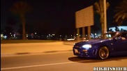 R34 Nissan Skyline Gt-r Flames at night!
