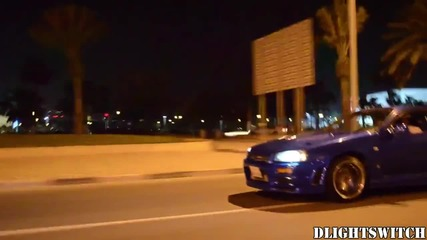 R34 Nissan Skyline Gt-r Flames at night!