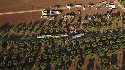 Italy: Drone captures aftermath of deadly Puglia train crash