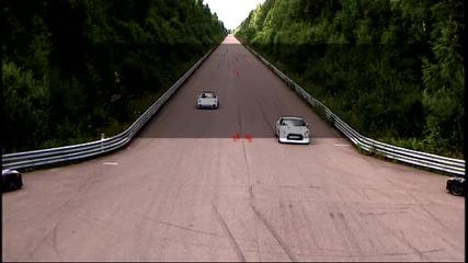 Porsche 911 Turbo срещу Nissan Gt-r Stage 1
