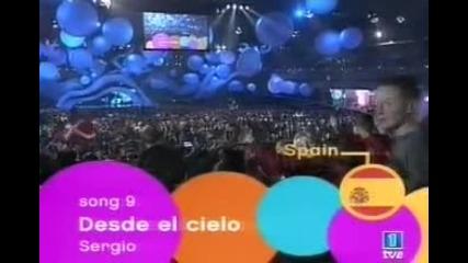 Sergio en el Festival de Eurojunior 2003 Desde el Cielo