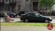 Мъж в инвалидна количка, закачен за кола - Скрита Камера