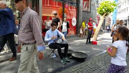Hang drums - street musician in Maastriht