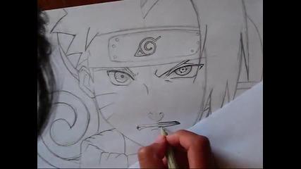 Drawing Naruto vs Sasuke half-face