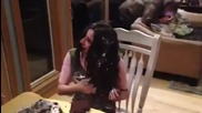 Leap Year Girl gets cake smashed in her face ( Birthday celebration ) Rwj said to