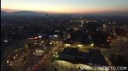 Нощна София от небето заснета с дрон