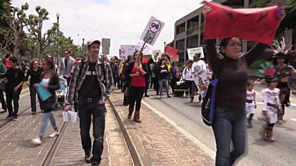 USA: Aztec people join March against Monsanto and GMOs in San Francisco