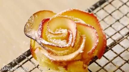 Как да направим вкусен и бърз десерт от ябълки с форма на рози