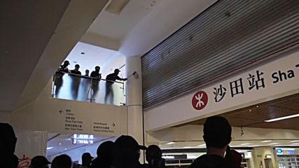 Hong Kong: Masked protesters vandalise Sha Tin metro station