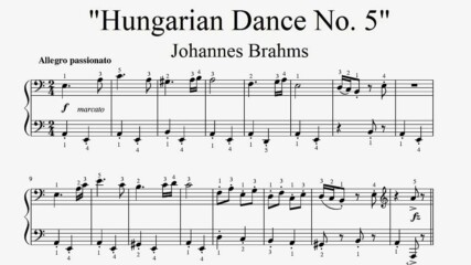 """Johannes Brahms - Hungarian Dance No.5"" - Piano sheet music (by Tatiana Hyusein)"