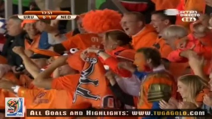 06.07.2010 Уругвай - Холандия 0:1 Гол на Джовани ван Бронкхорст - Мондиал 2010 Юар