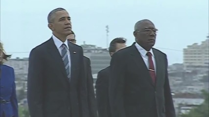 Cuba: Obama attends wreath laying at Jose Marti Memorial in Havana