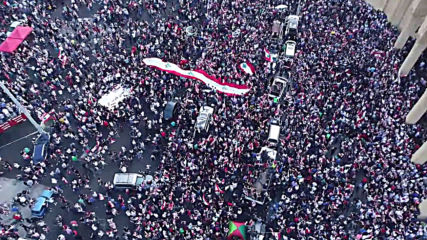 Lebanon: Drone captures thousands of anti-govt protesters in Beirut streets