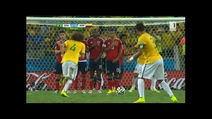 Мондиал 2014 - Бразилия 2:1 Колумбия - Селесао на 1/2финал след голям мач срещу сърцатите Колубмийци