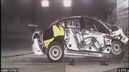 Краш тест на рали автомобил със 102 км/ч.