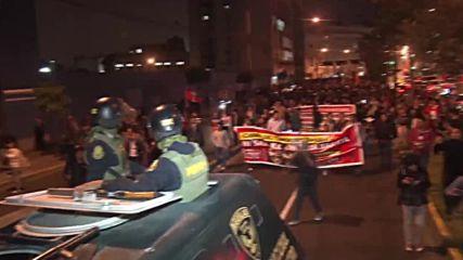 Peru: Tear gas billows at Lima protest against the Fujimoris