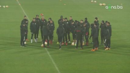 ЦСКА тренира преди мача с Йънг Бойс
