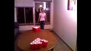 Stripper knocks over beer pong cups