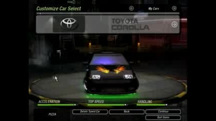 Nfsu2 My Cars 240sx, Corolla, Golf