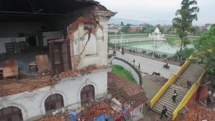 Разрушенията в Непал отвисоко