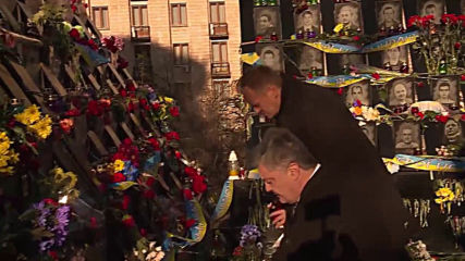 Ukraine: EU's Tusk and Poroshenko pay their respects to Maidan dead