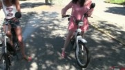 Miss Vicky and Miss Black Mamba playing with mopeds - Trailer Pedal Pumping