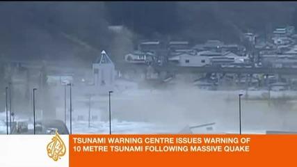 10 метрово Цунами връхлетя Япония след земетрус