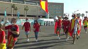Spain: Spain and Sweden team buses arrive at Estadio de La Cartuja ahead of Euro 2020 opener