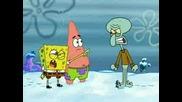 Спончбоп И Патрик Воюват Със Снежни Топки