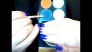 Грим в светло синьо-зеленикаво,тъмно зелено и оранжево