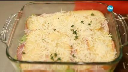 Мусака от тиквички о шунка и кащкавал - Бон апети (16.03.2016)