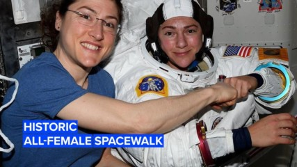 One giant leap for women: First all-female spacewalk