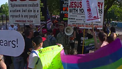 USA: LGBT activists face off Westboro Baptist Church protesters outside DNC