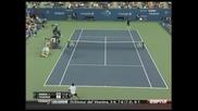 2010 Us Open Federer Dabul - Tweener - Amazing Shot Between Legs