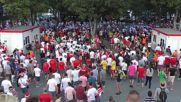 France: Poland's fans celebrate 1-0 win against Ukraine