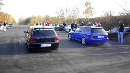 Golf 4 R32 Turbo 590hp vs Audi S4 Turbo 600hp