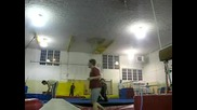 Triple Backfilip On Trampoline