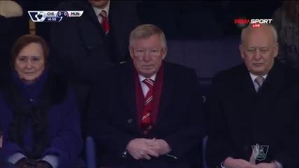 Сър Алекс Фъргюсън и Борис Бекер наблюдават битката между Челси и Манчестър Юнайтед