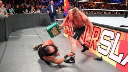 Brock Lesnar F-5s Braun Strowman and smashes him with his Money in the Bank briefcase: SummerSlam 2018 (WWE Network Excl