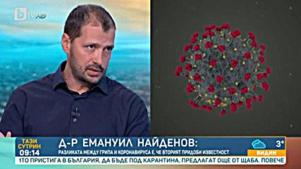 Д-р Емануил Найденов- Разликата между грипа и коронавируса е че вторият придоби известност - btv Нов