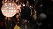 Rosario Dawson gets down on the catwalk at NYFW